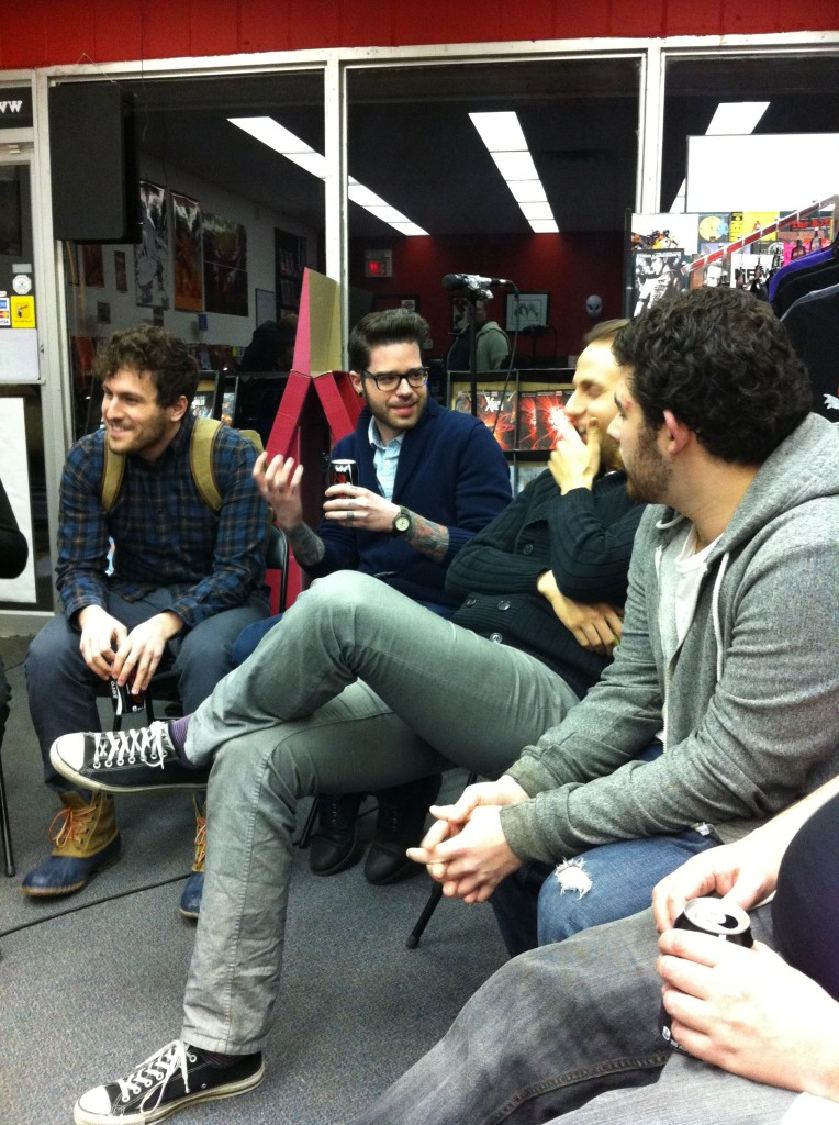 Panelists (left to right) Ben Rankel, Ryan Ferrier, Scott Kowalchuk and Curt Pires during the recording of The 2012 We Talk Comics Super Summit Podcast at Alpha Comics