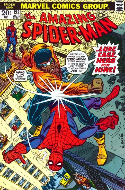 One trick that's always worked in comics is putting a new character in an established book to raise his Visibility. Check out Luke on this great cover from Amazing Spider-Man #123 by I believe John Romita Sr