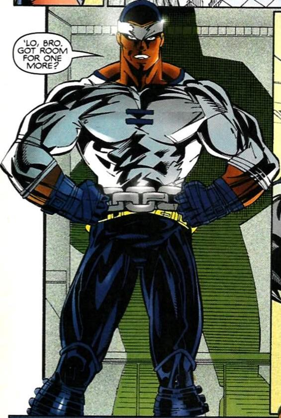 With Cage's cancellation at Issue #20 the next time he was part of an ongoing regular series was teaming with his old friend Iron Fist and several other for a short run launched during the Heroes Reborn event. His costume, as designed by Pasqual Ferry is a new look on an old outfit, and one of many designs given during the series short run