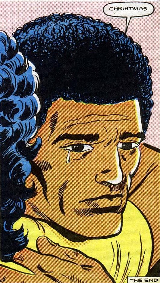 In September of 1986 Power Man and Iron Fist was among the titles cancelled by Marvel to make room for the New Universe. In this final issue Iron Fist is apparently killed and Luke Cage is on the run from the law again accused of his murder. On the final page Fist's girlfriend and Luke have a tender moment as the 2 people who loved him the most. I this final panel, as beautifully drawn by Mark Bright, we see the after effects on Luke, and this would remain the final image of him printed for years