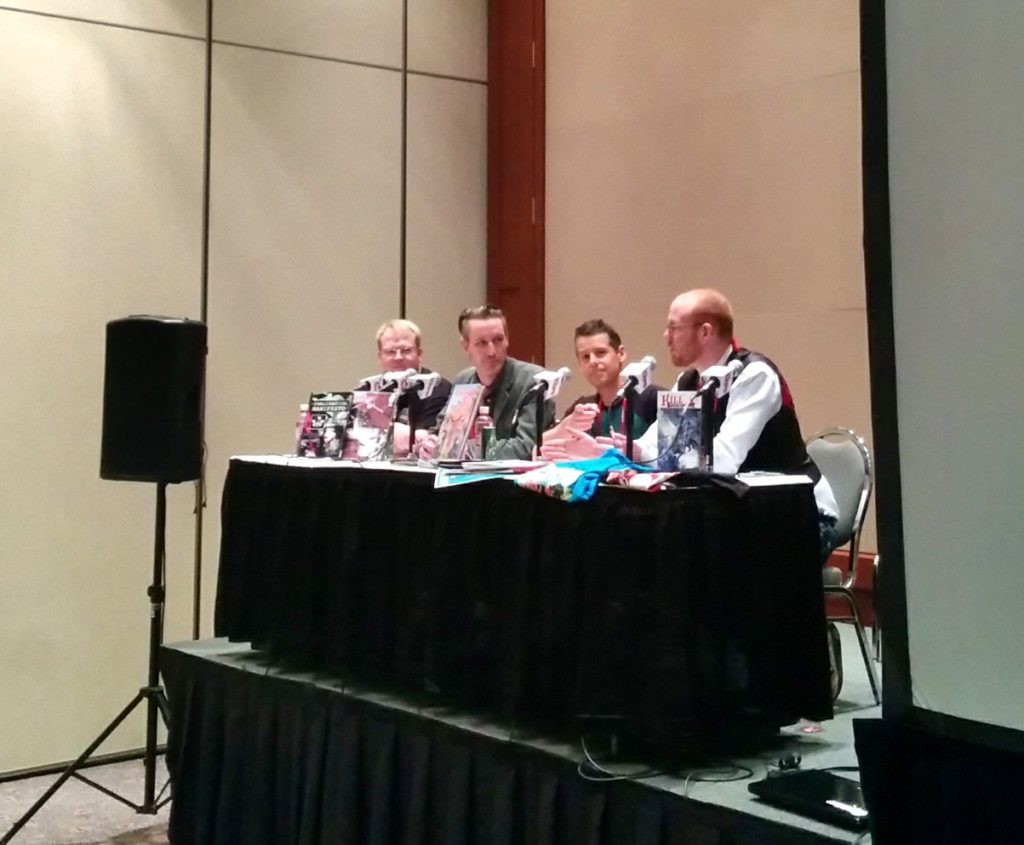 Left to right, Brett Monro, Greg 'GMB' Chomichuk. Alexander Finbow and Conor McCreery at the Calgary Comic and Entertainment Expo