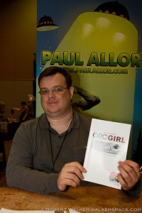 Paul Allor proudly holds up thw quietly brilliant Orc Girl.