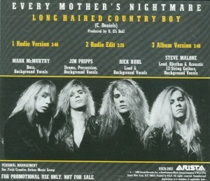 Long Haired Country Boy By Every Mother's Nightmare bck CD cover