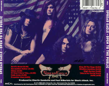 Spread Eagle Open To The Public Back CD Cover