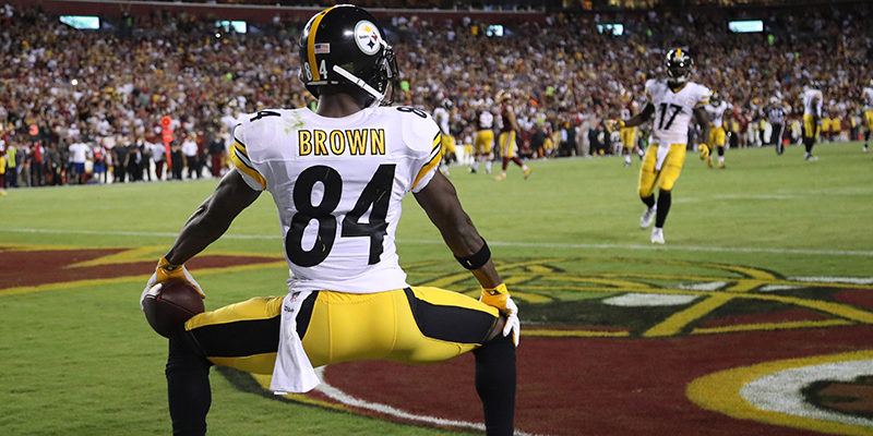 We hope this isn't Antonio Brown taking a number 2 on the field.